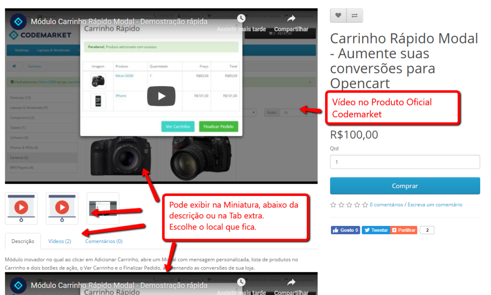 Vídeos responsivos no Produto para Opencart - Foto 1