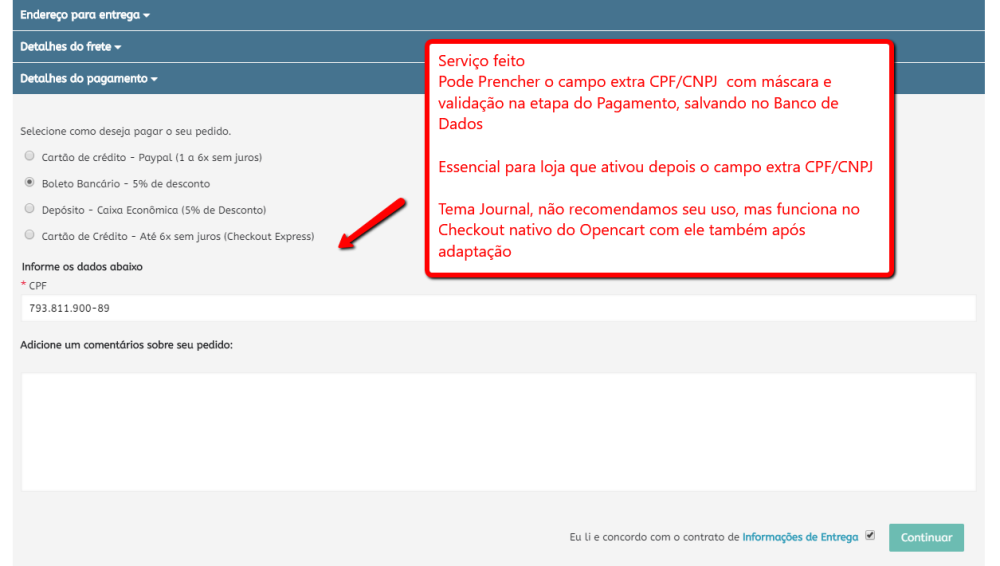 Preencher CPF/CNPJ na etapa Pagamento do Checkout padrão Opencart - Foto 3
