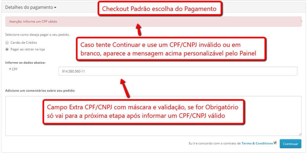 Preencher CPF/CNPJ na etapa Pagamento do Checkout padrão Opencart - Foto 2