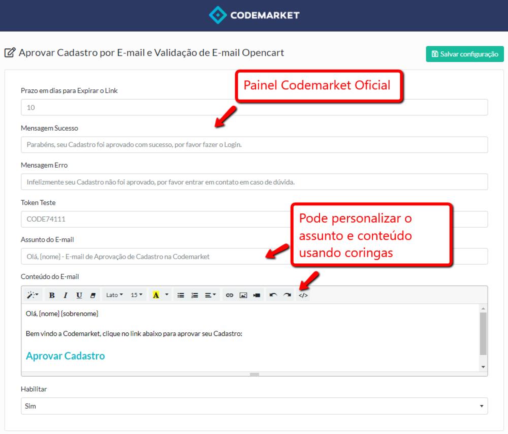 Aprovar Cadastro por E-mail e Validação de E-mail Opencart - Foto 1