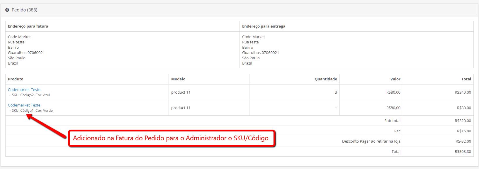 SKU/Código nas Opções dos Produtos - Foto 2