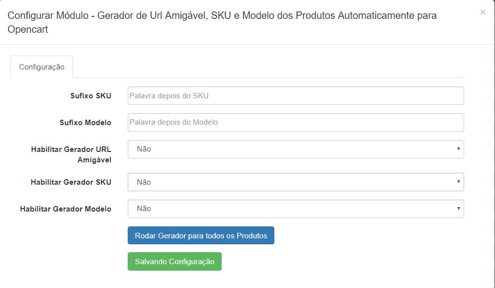 Gerador Automático - URL Amigável, SKU e Modelo dos Produtos para Opencart - Foto 1
