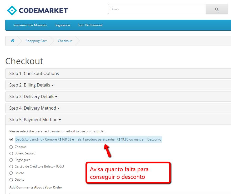 Desconto Premium - Forma de Pagamento, Produto e Quantidade para Opencart - Foto 4