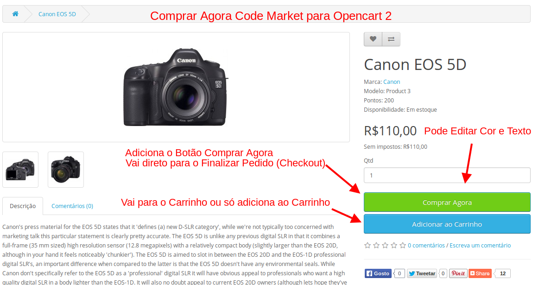 Comprar Agora - 1 Clique Apenas - para Opencart - Foto 1