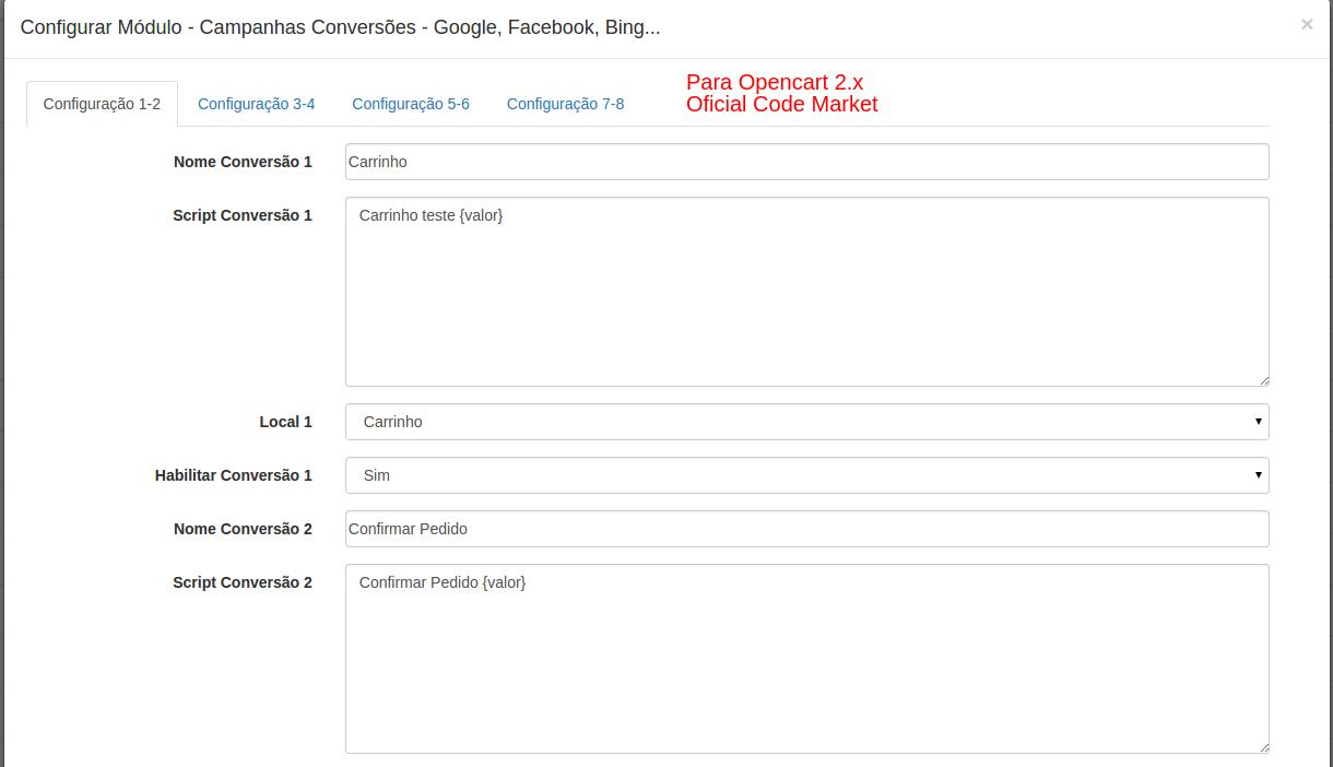 Campanhas Conversões - Google, Facebook, Bing... para Opencart - Foto 2