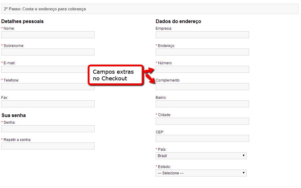 Campos Extras -  Número e Complemento para Opencart - Foto 2