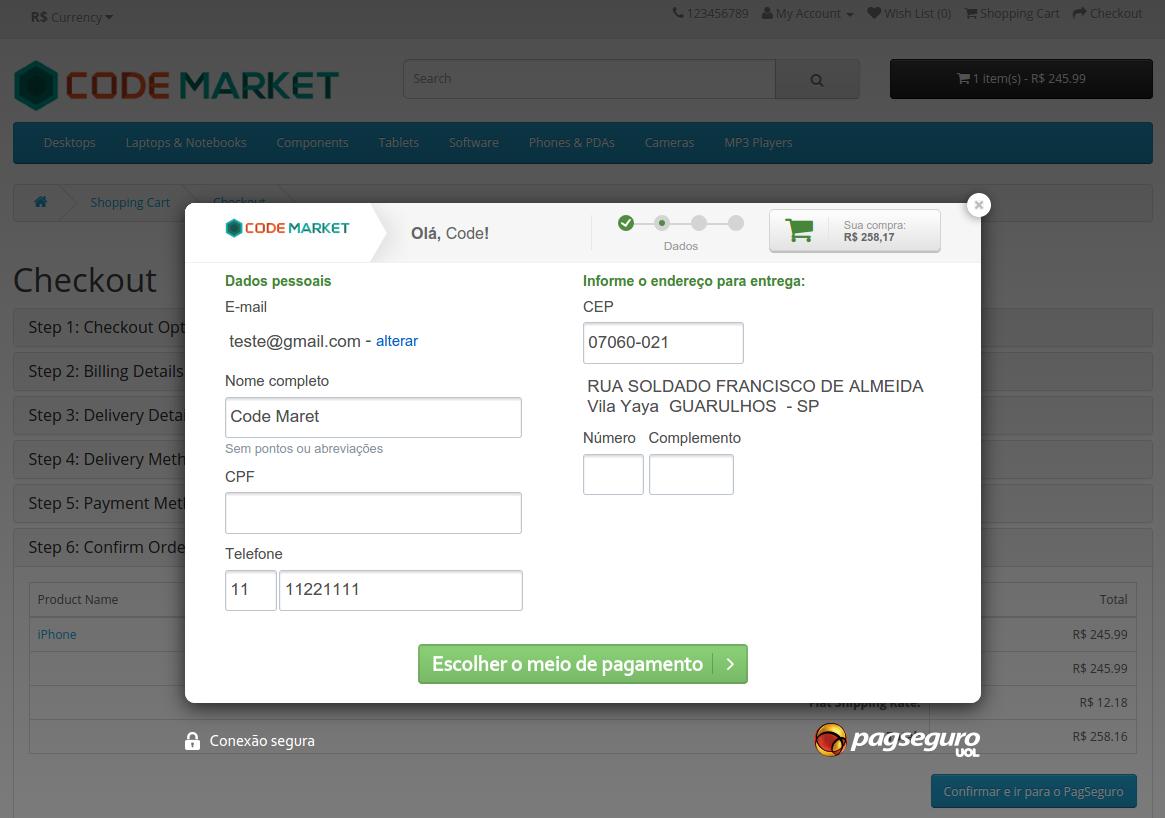 PagSeguro API Lightbox Premium para o Opencart - Foto 7
