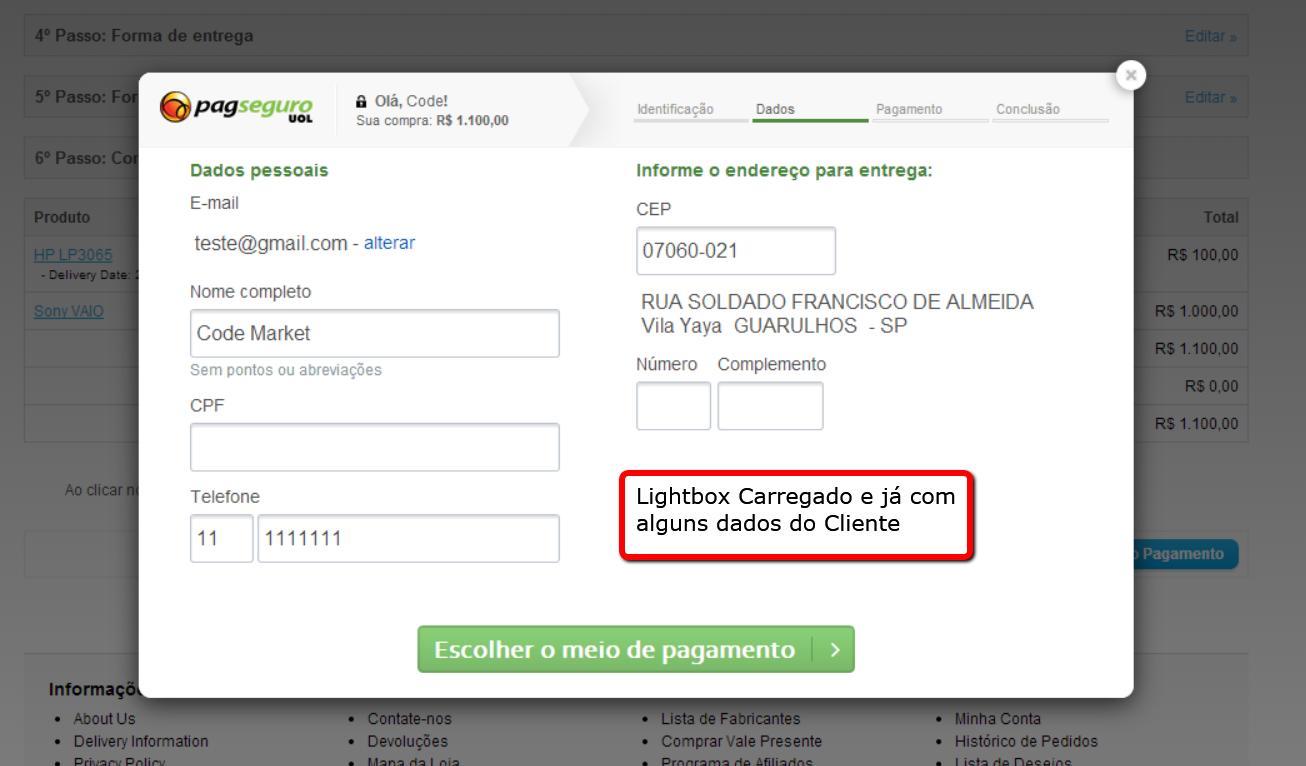 PagSeguro API Lightbox Premium para o Opencart - Foto 1