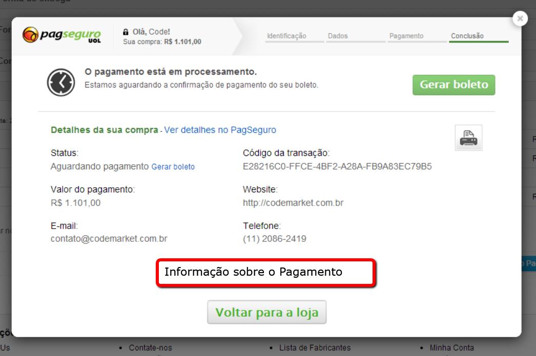 PagSeguro API Lightbox Premium para o Opencart - Foto 2