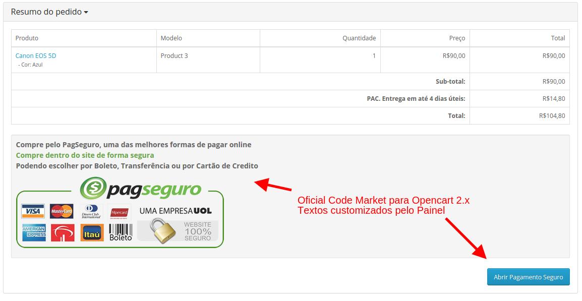PagSeguro API Lightbox Premium para o Opencart - Foto 4