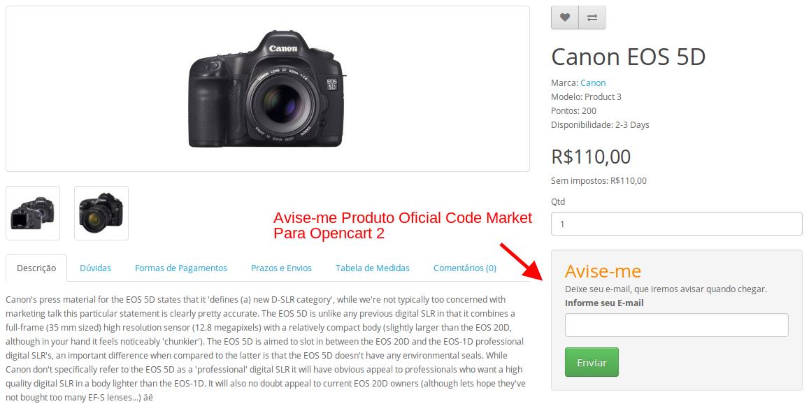 Avise-me sem Estoque Produto para Opencart - Foto 3
