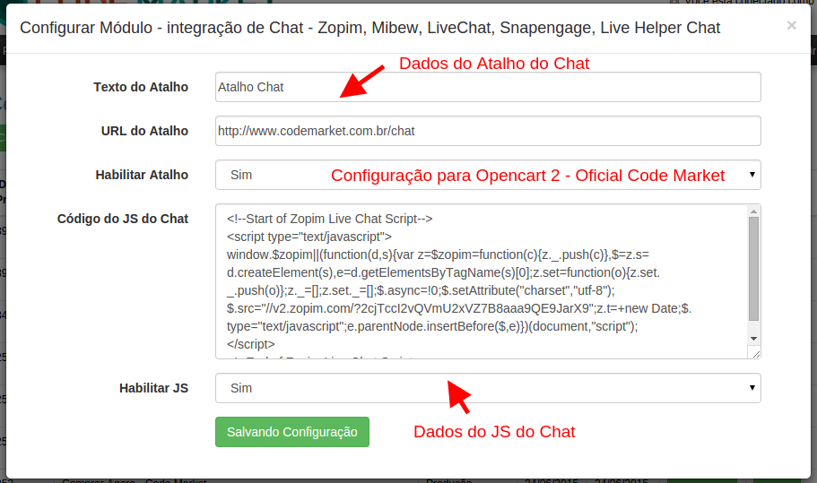 Integração de Chat - Zopim, Mibew, LiveChat, Snapengage, Live Helper Chat... - Foto 1