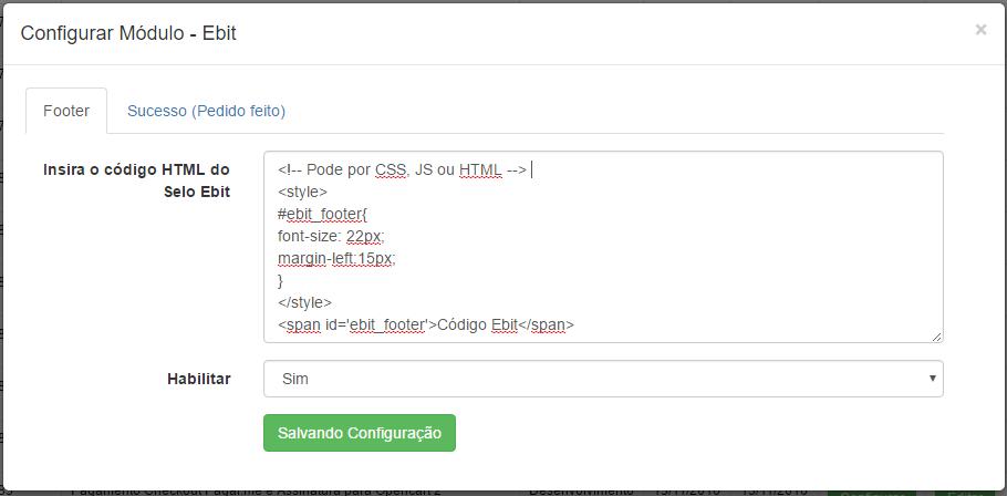 Integração Ebit para Opencart - Página de Sucesso e Footer - Foto 1