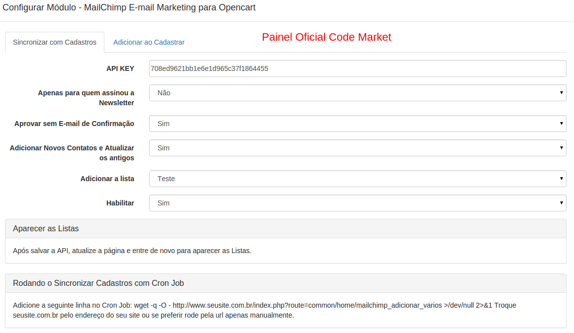 MailChimp E-mail Marketing para Opencart - Foto 2