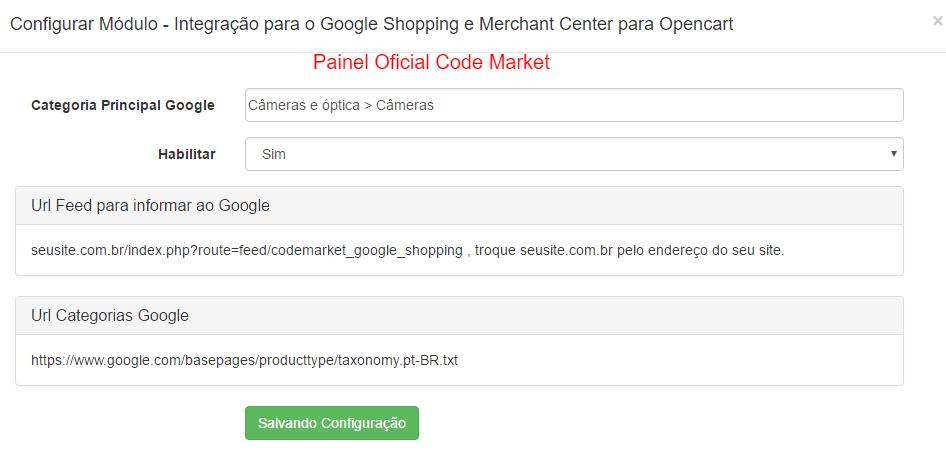 Integração para o Google Shopping e Merchant Center para Opencart - Foto 1
