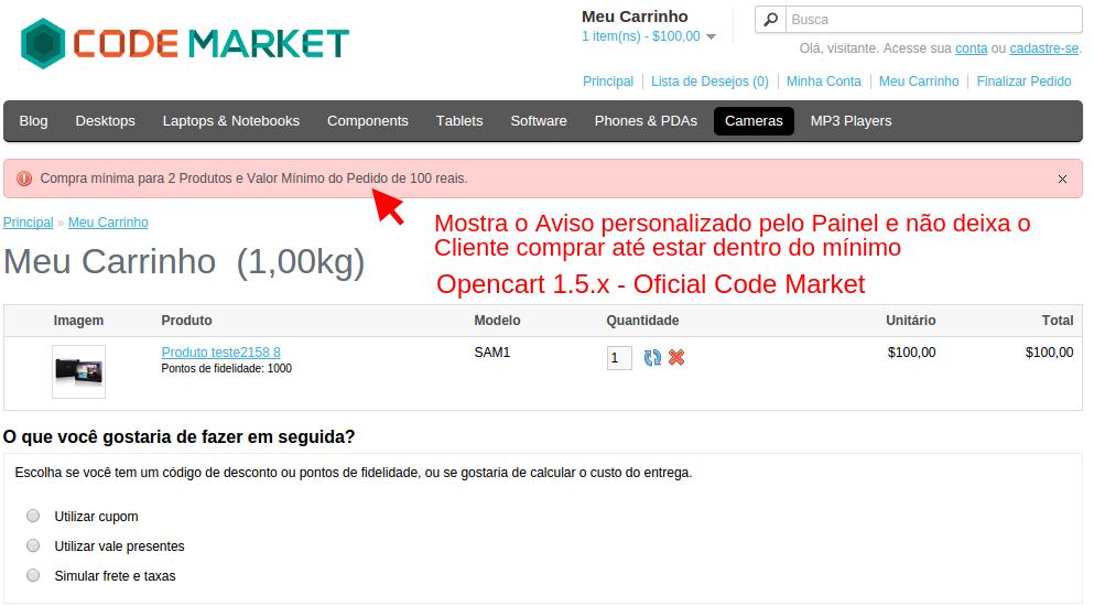 Quantidade Mínima e Valor Mínimo Pedido para Opencart - Foto 2