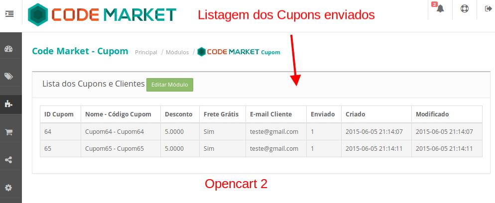 Super Desconto por Cupom e Informativo por Status -  para Opencart - Foto 3