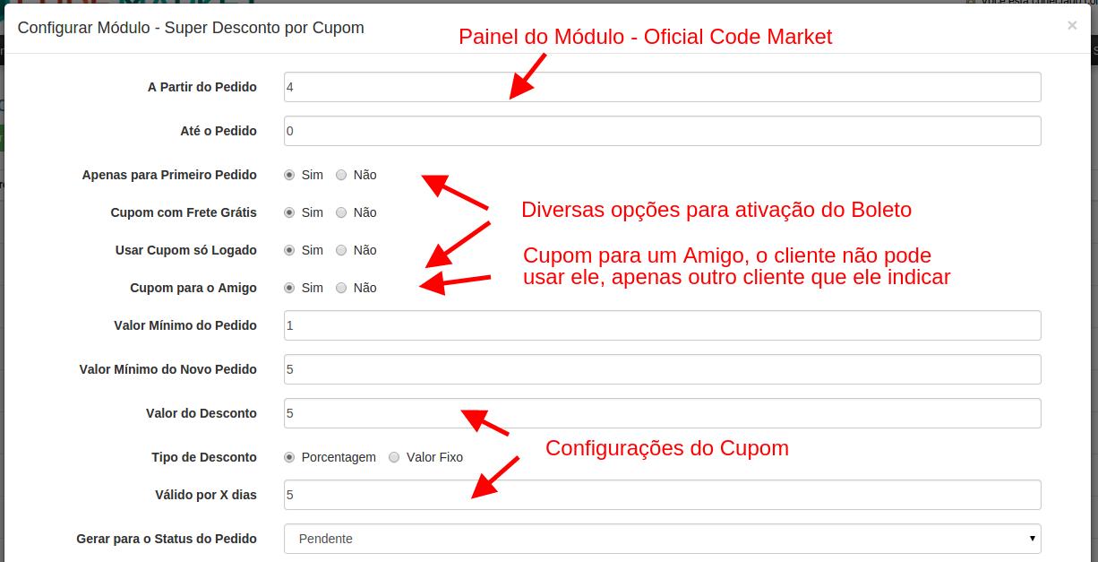 Super Desconto por Cupom e Informativo por Status -  para Opencart - Foto 2