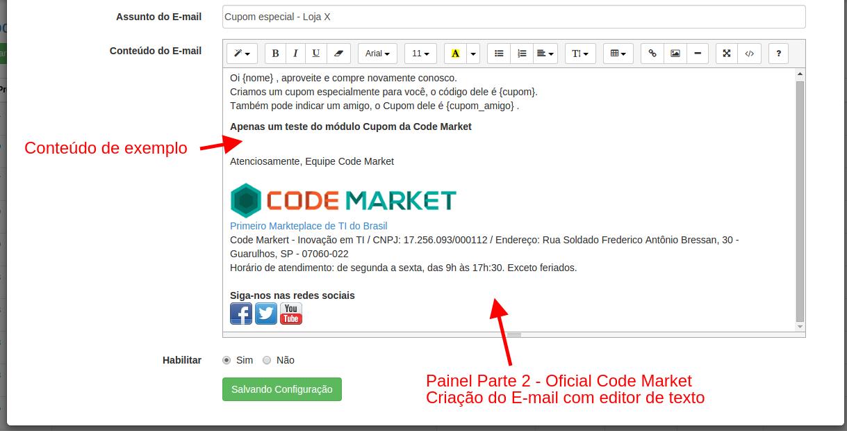Super Desconto por Cupom e Informativo por Status -  para Opencart - Foto 1