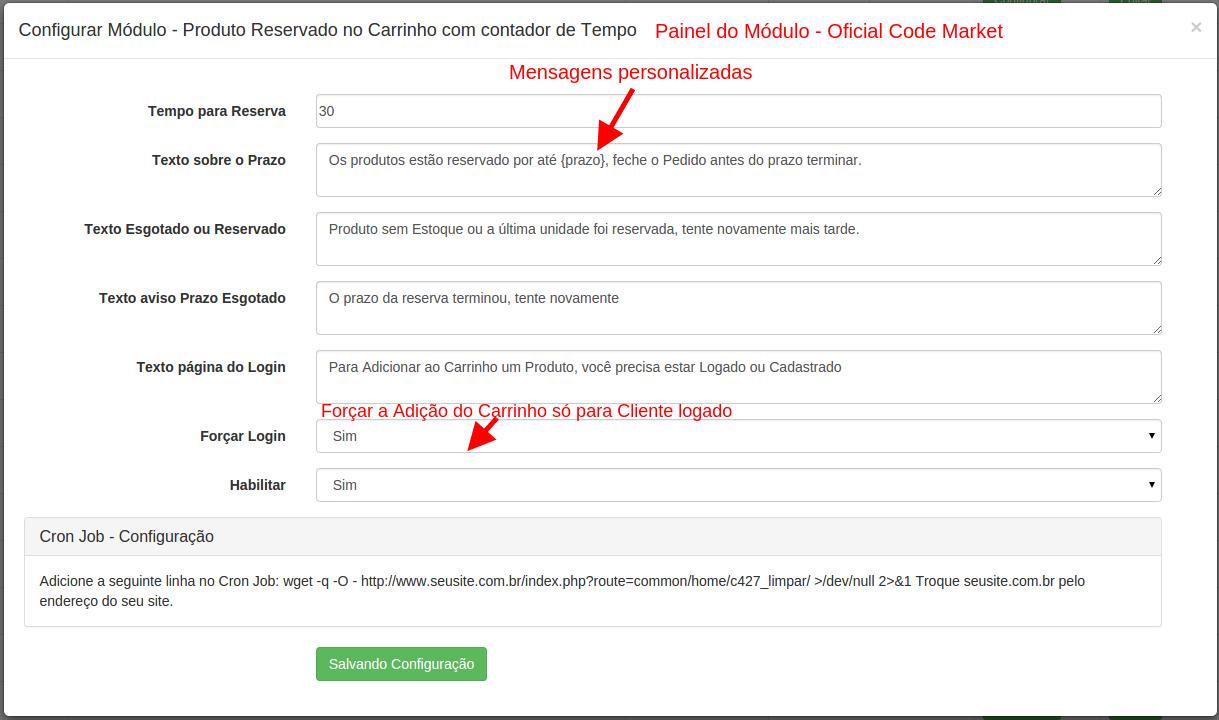 Reserva Carrinho com Contador de Tempo para Opencart 2 - Foto 1
