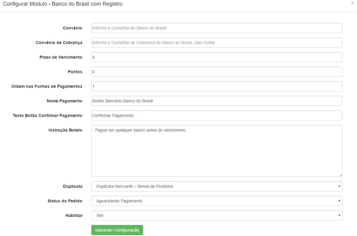 Pagamento Boleto Banco do Brasil Com Registro para Opencart 1.5.x - Foto 1