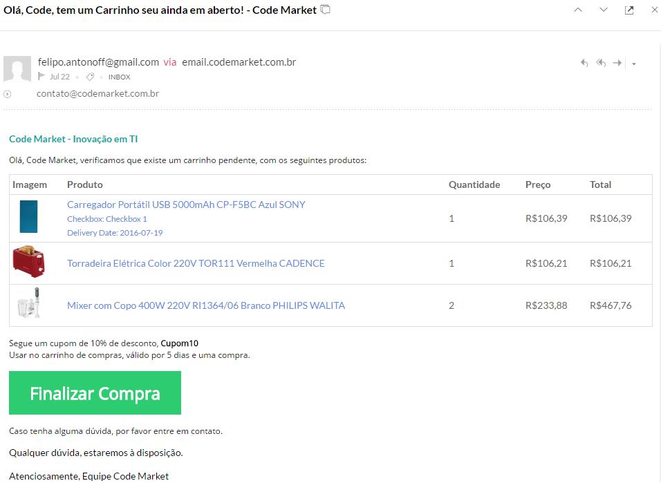 Recuperar Carrinho Premium para Opencart - Aumente suas conversões - Foto 1
