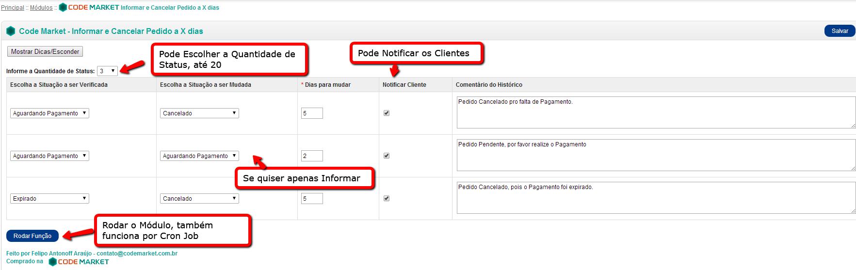 Informar e Cancelar Pedidos a X dias com o mesmo Status para Opencart - Foto 7