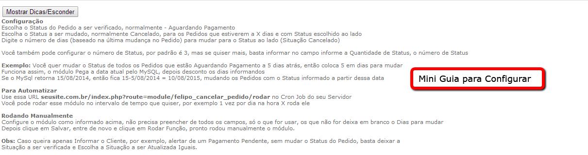 Informar e Cancelar Pedidos a X dias com o mesmo Status para Opencart - Foto 3