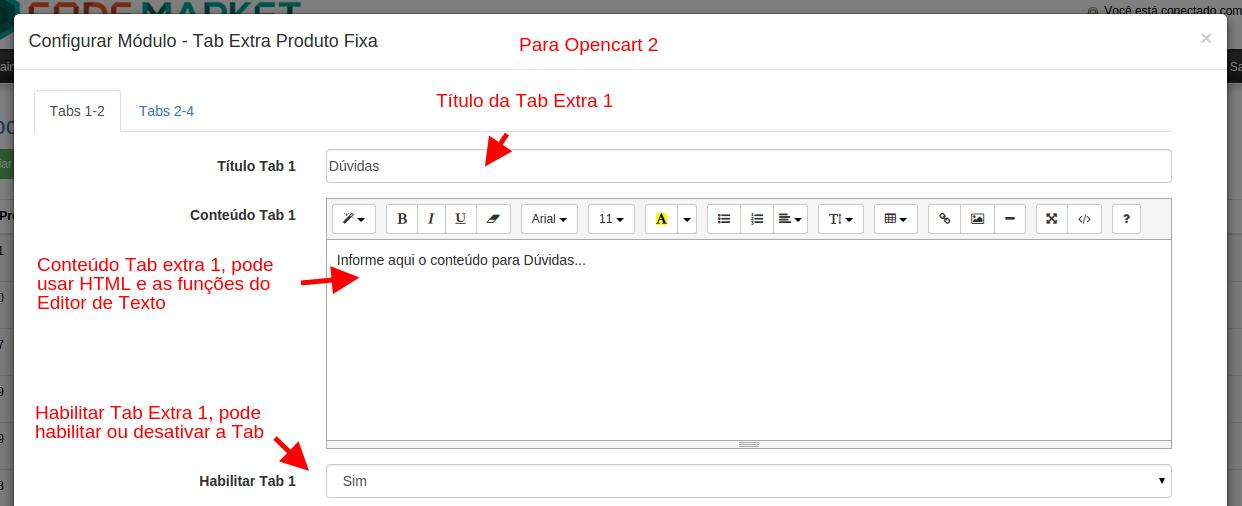 Tab Extra Produto Fixa para Opencart - Foto 2