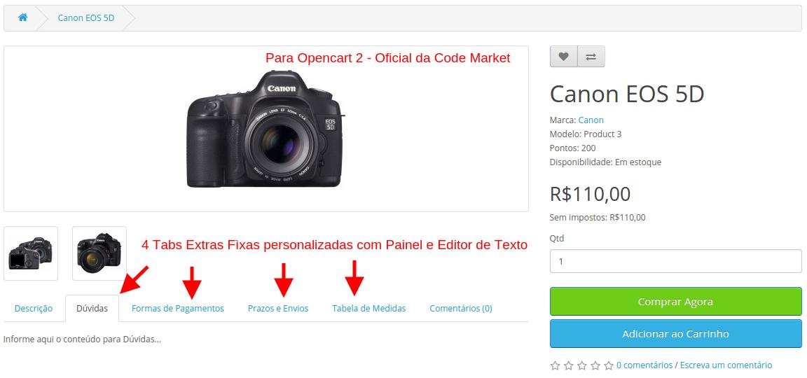 Tab Extra Produto Fixa para Opencart - Foto 3