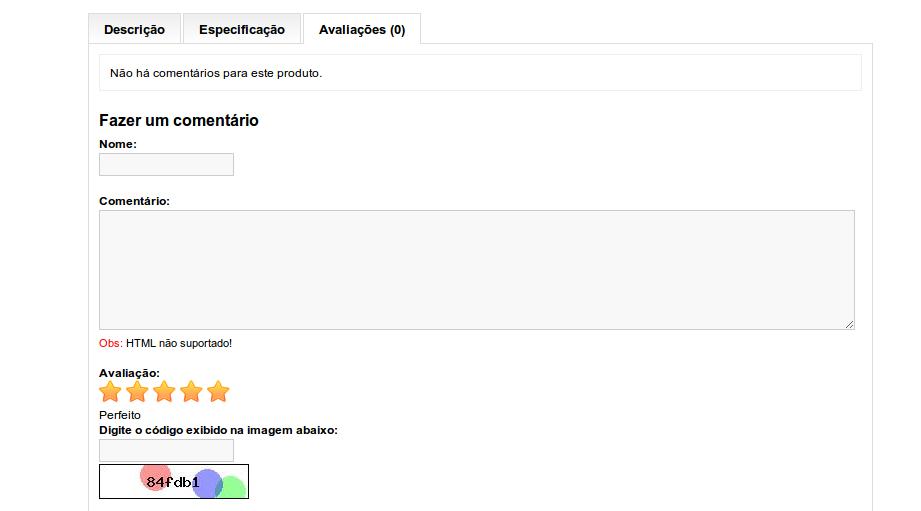 Avaliação (rating) com Estrela no Comentário do Produto para Opencart - Foto 1