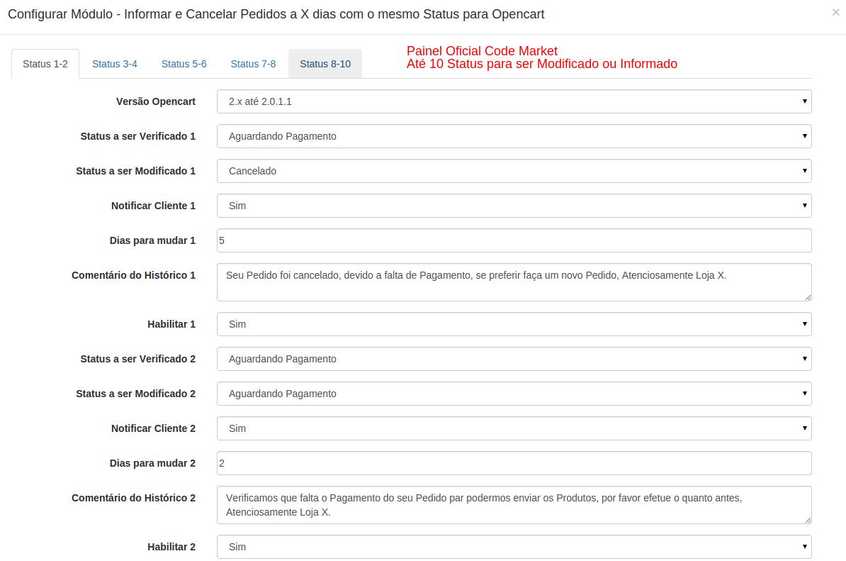 Informar e Cancelar Pedidos a X dias com o mesmo Status para Opencart - Foto 4