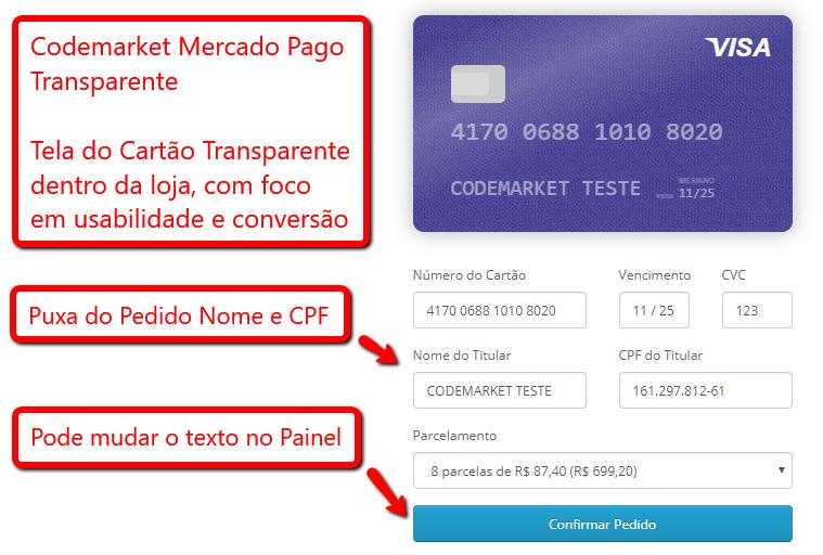 Pagamento Mercado Pago Transparente Boleto e Cartão Opencart - Foto 1