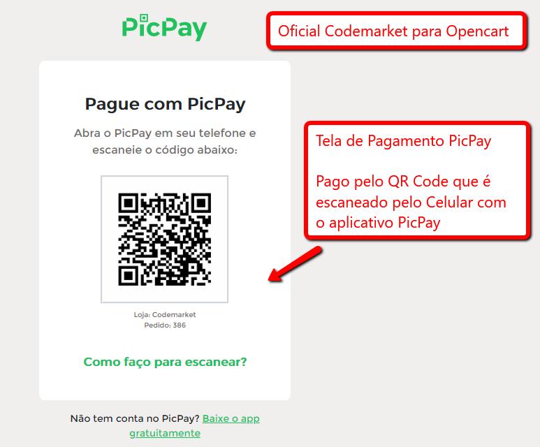 Pagamento PicPay E-commerce Opencart - Pagamento pelo Celular - Foto 1