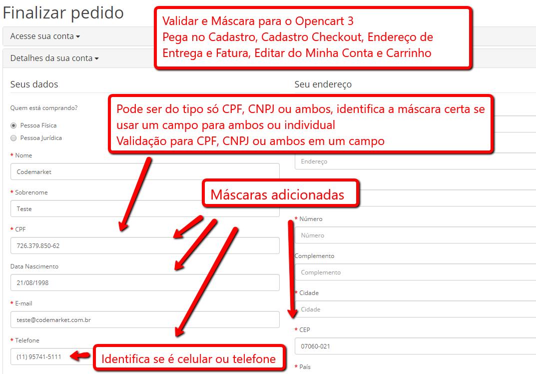 Validar e Máscara (CEP, CPF, CNPJ, Telefone...) - Cadastro e Checkout Opencart - Foto 1