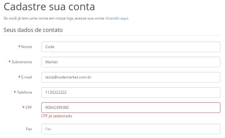 Verificar CPF e CNPJ - Cadastro único para Opencart - Foto 1