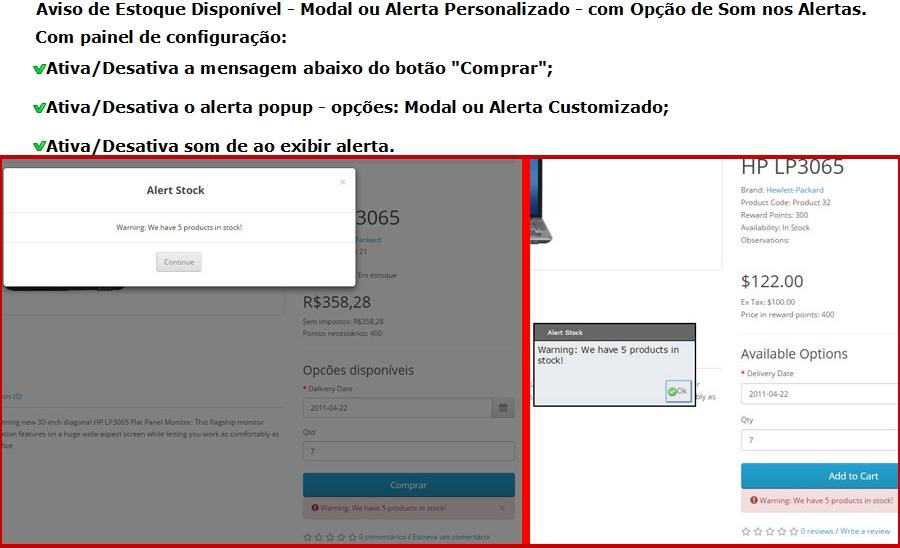 Aviso de Estoque Disponível - Modal ou Alerta Personalizado - com Opção de Som nos Alertas. - Foto 5