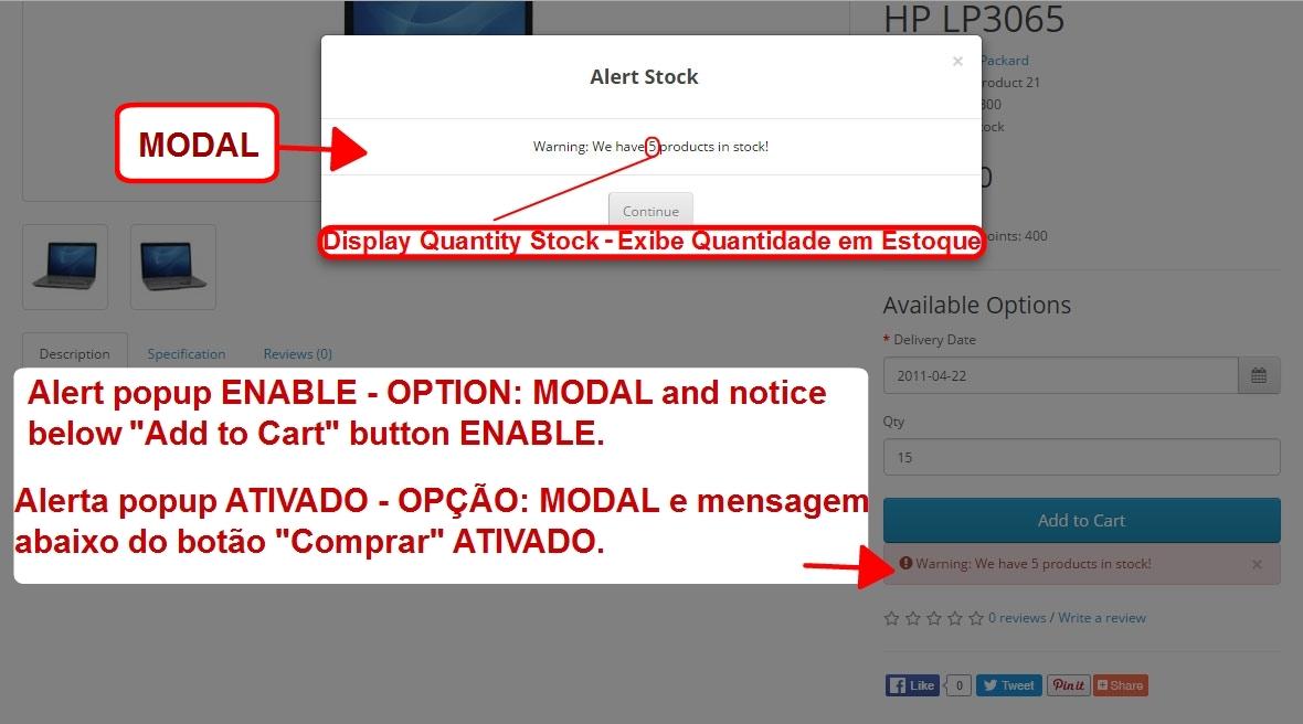 Aviso de Estoque Disponível - Modal ou Alerta Personalizado - com Opção de Som nos Alertas. - Foto 3