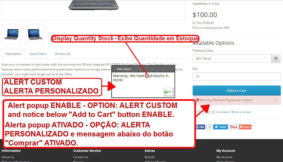 Aviso de Estoque Disponível - Modal ou Alerta Personalizado - com Opção de Som nos Alertas. - Foto 4