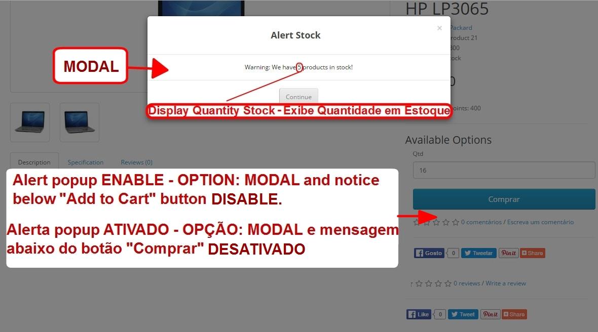 Aviso de Estoque Disponível - Modal ou Alerta Personalizado - com Opção de Som nos Alertas. - Foto 2