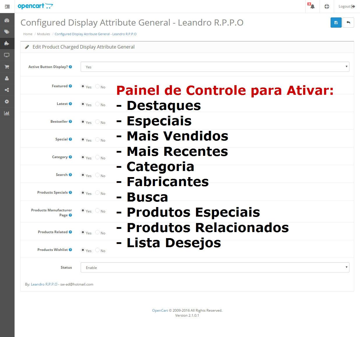 Exibir Especificação (Atributo) nas Páginas e Módulos Padrões - Foto 1