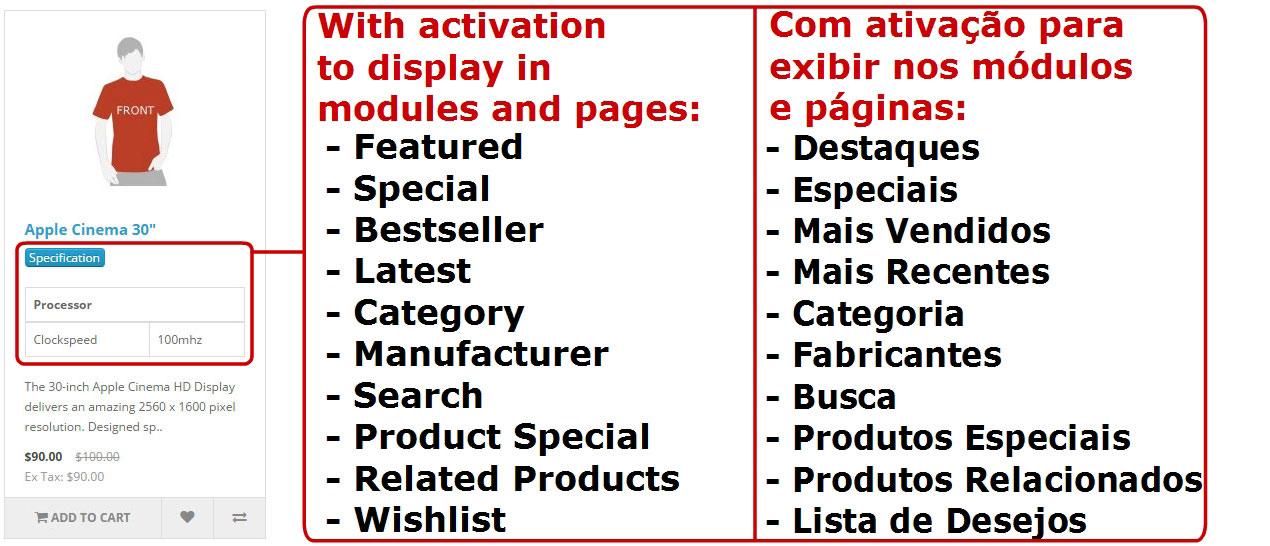 Exibir Especificação (Atributo) nas Páginas e Módulos Padrões - Foto 6