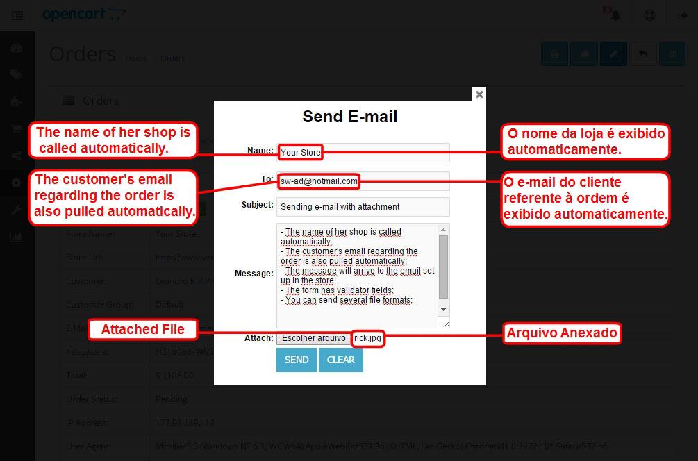 Enviar E-mail com Anexo para o Cliente via Admin para Opencart - Foto 4