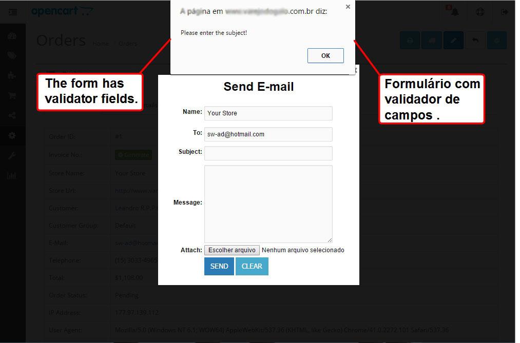 Enviar E-mail com Anexo para o Cliente via Admin para Opencart - Foto 9