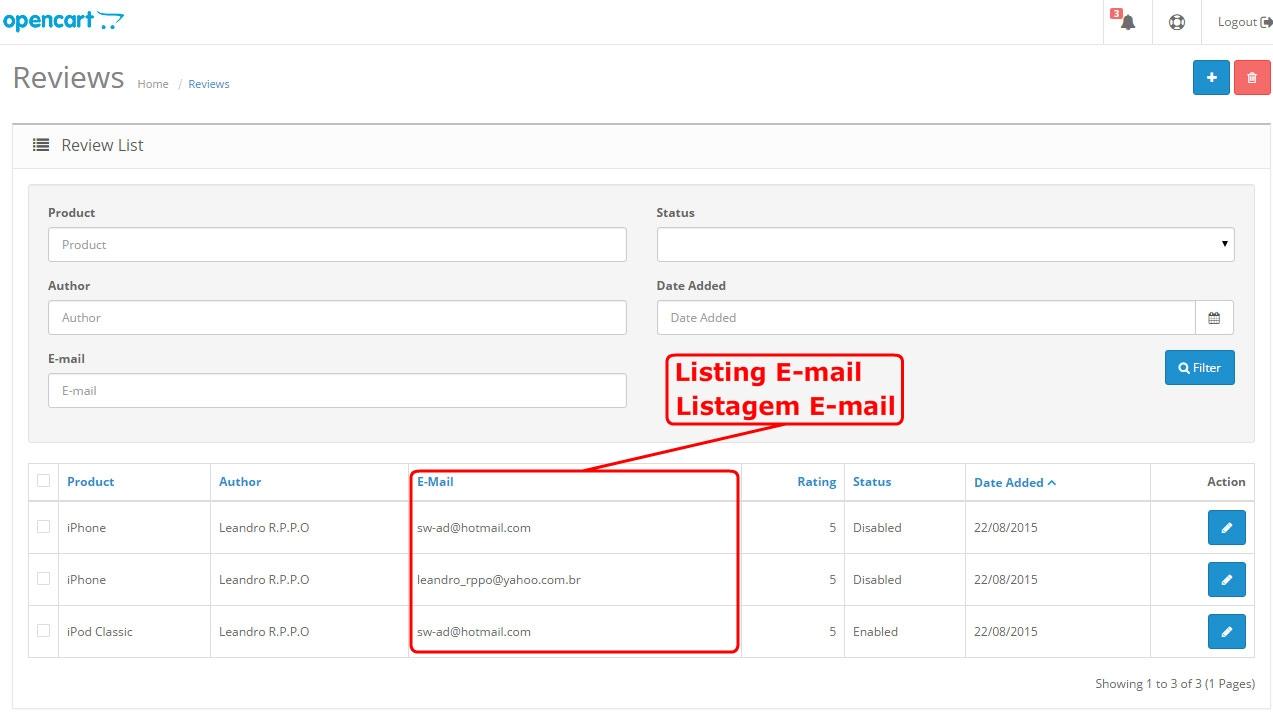 Campo E-mail para Formulário de Comentário do Produto - Foto 3
