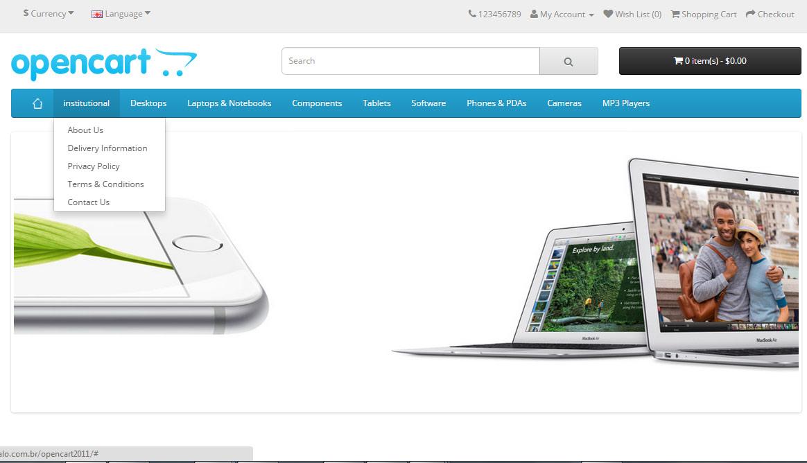 Botão Home - Link Informações e Contato no Menu Principal - Foto 3