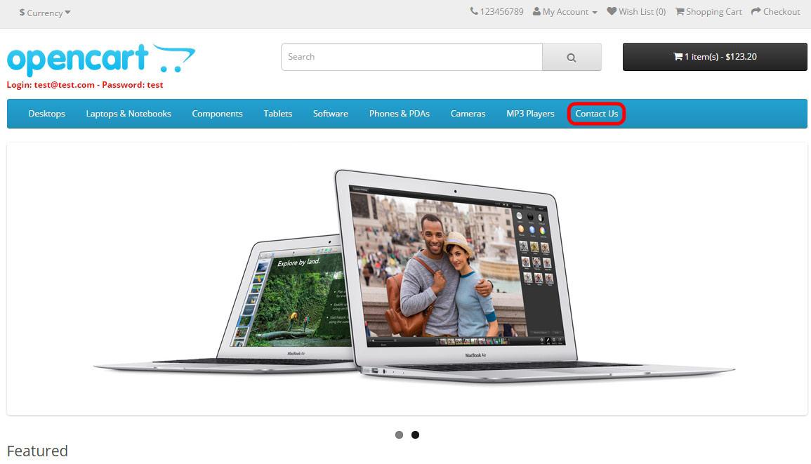 Link para página de contato no menu do cabeçalho (header) - vQmod/OCmod - Foto 1