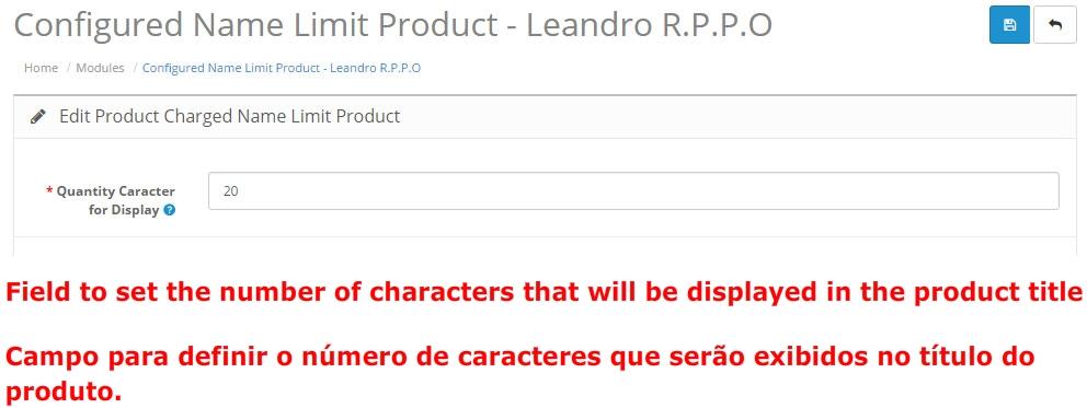 Definir Quantidade de Caracteres para o Nome do Produto - Foto 8
