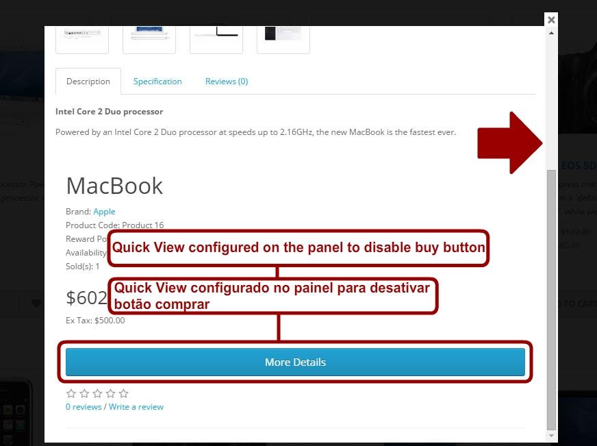 Quick View - Visualização Rápida de Produtos - Opencart Versão 2.X - Foto 2