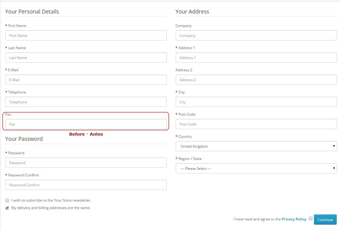 Remover FAX no geral da Loja - Registro, Checkout - Admin: Configurações e Editar Pedidos - Foto 1